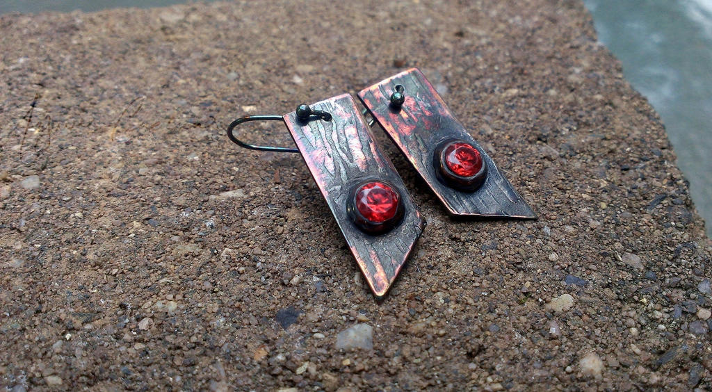 Fine Silver Dangle Earrings with Bark Texture by AywenCreations