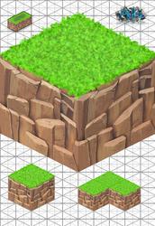 Texture 2D Isometric Grass Rock / Cliff