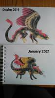 Cat or dragon? [redraw, 2021]