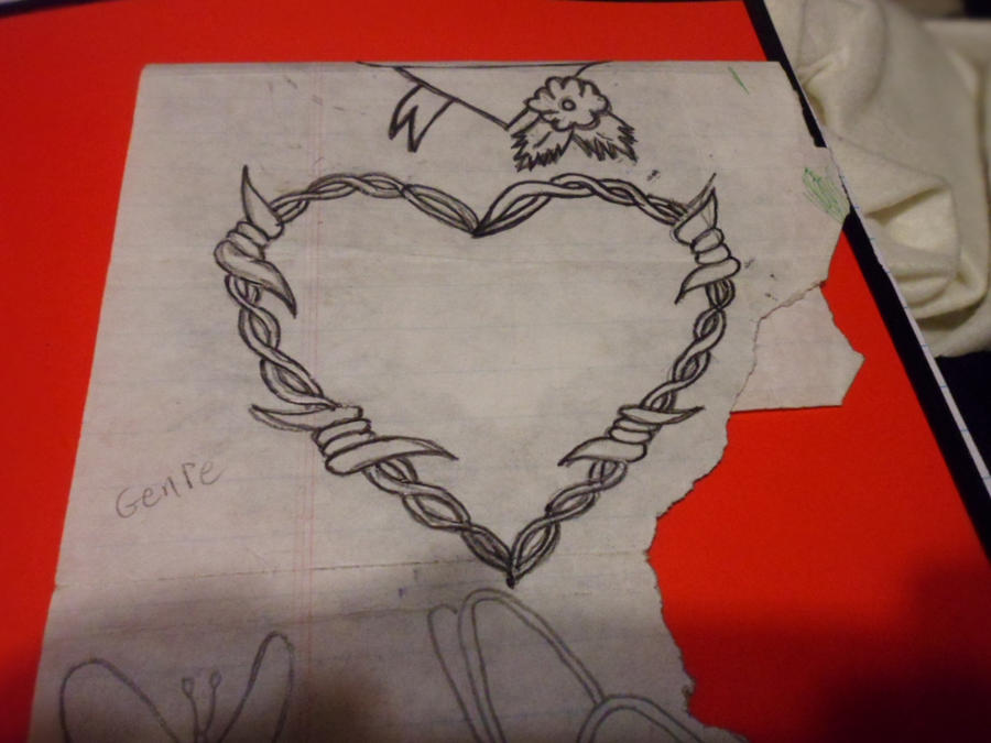 barbed wire heart drawing - photo #12