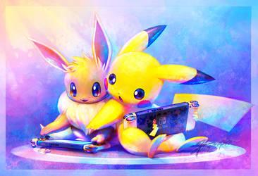 Gaming buddies by JA-punkster