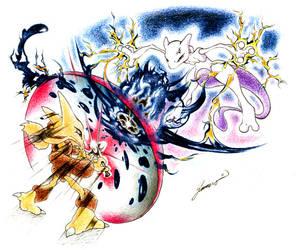 Alakazam vs. Mewtwo by JA-punkster