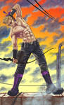 Hawkeye on the roof. Shirtless.