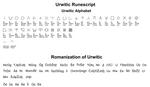 Urwitic alphabet