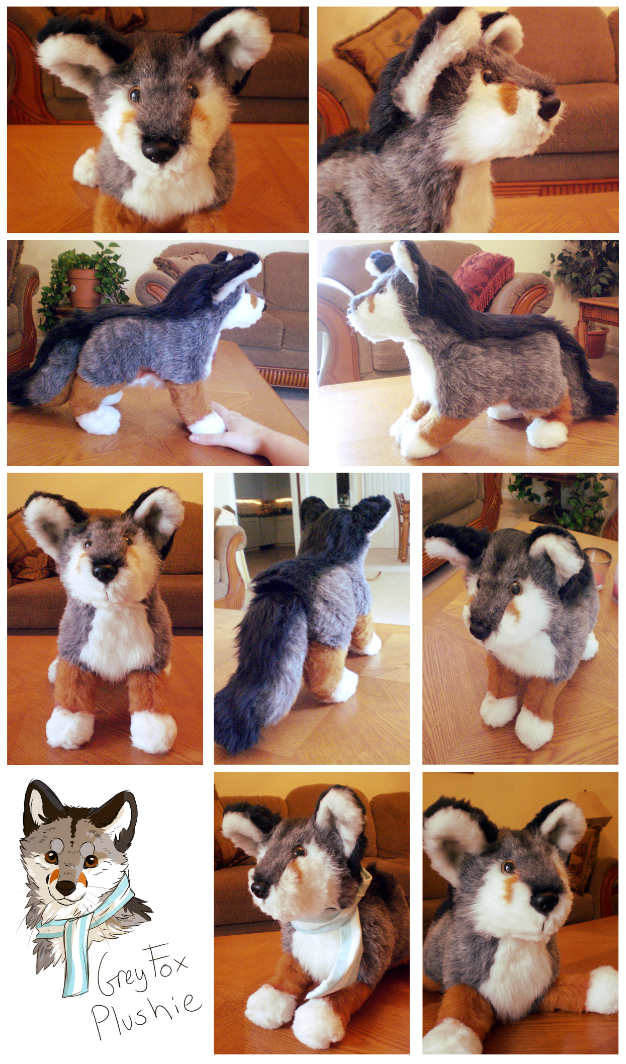 Grey Fox Plushie by whitepup