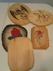 wood burnings and carvings