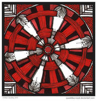 Red Wheel Mandala by Quaddles-Roost