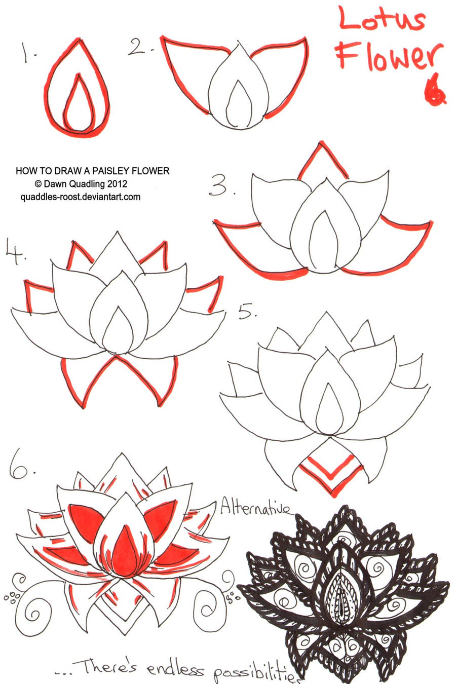 How To Draw Paisley Flower 06 By Quaddles Roost On DeviantArt