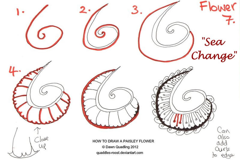 Zentangles Patterns Step By Step How to draw Paisley Fl...