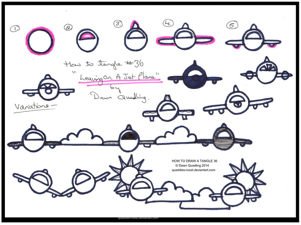 how to draw tangle 36 leaving on a jet plane by quaddles roost