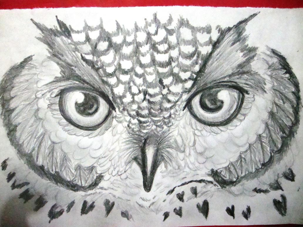 Happy Owl Eyes Drawing