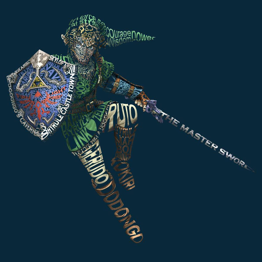 The Legend of Zelda Typography (Link) by CobaltNick
