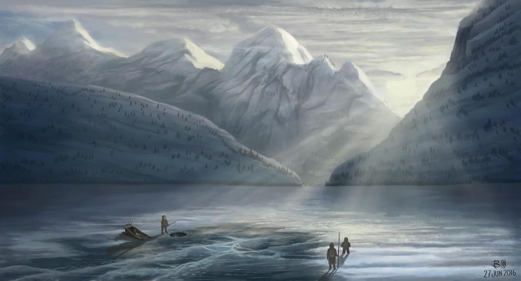 Pescador con Familia en Lago Congelado by BILLNEW