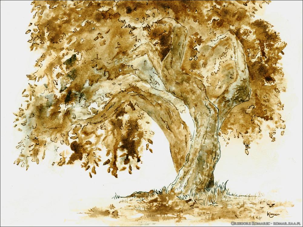Black and brown ink tree by Komar4