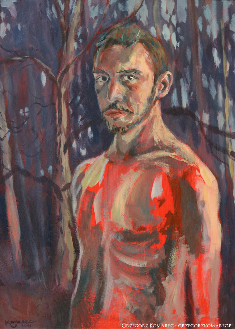Selfportrait with the red inside by Komar4