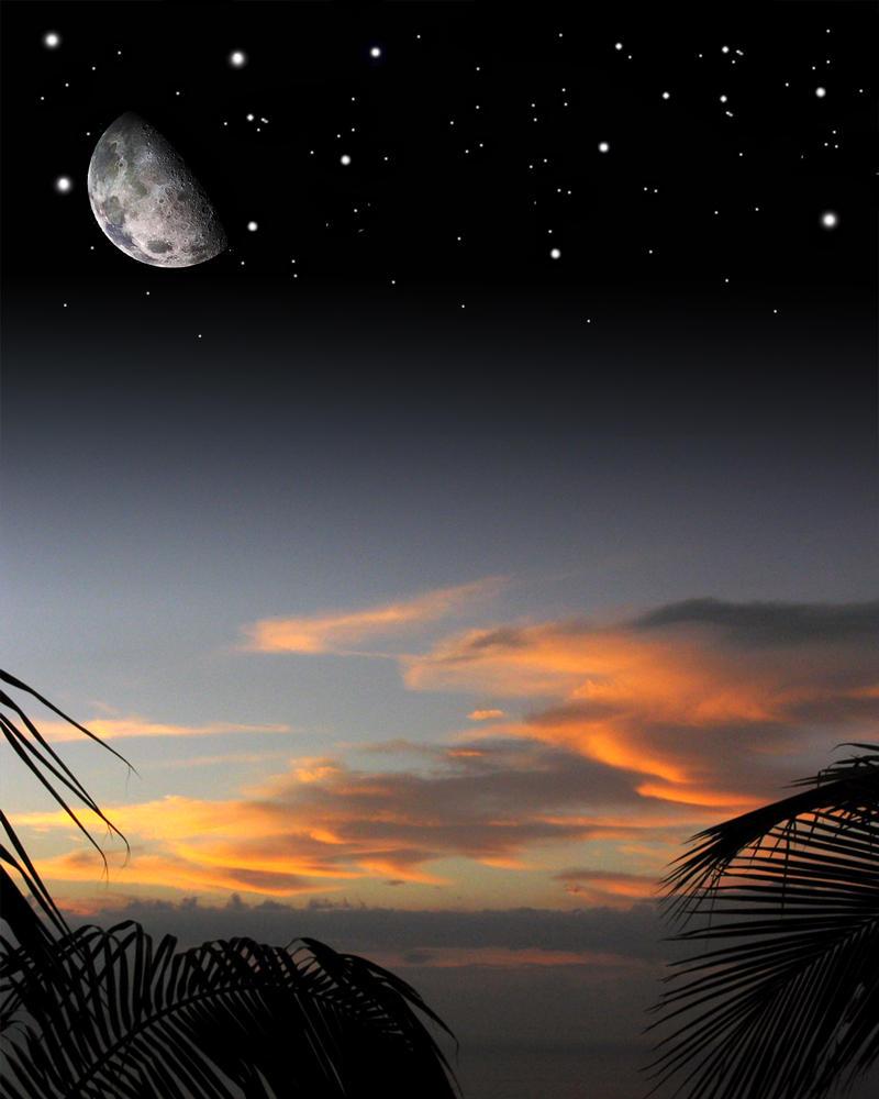 Sunset stars and moon by wonderstanley on deviantart