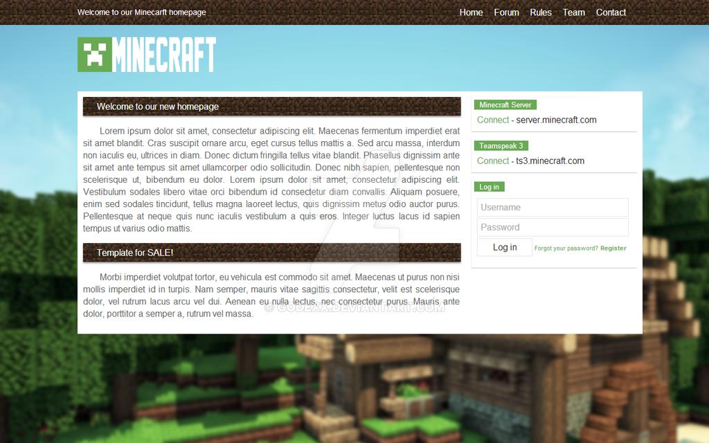 Minecraft HTML CSS Template 2
