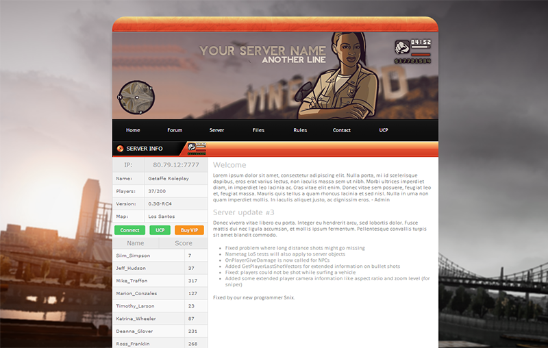 San Andreas Multiplayer website template by Godexx on DeviantArt