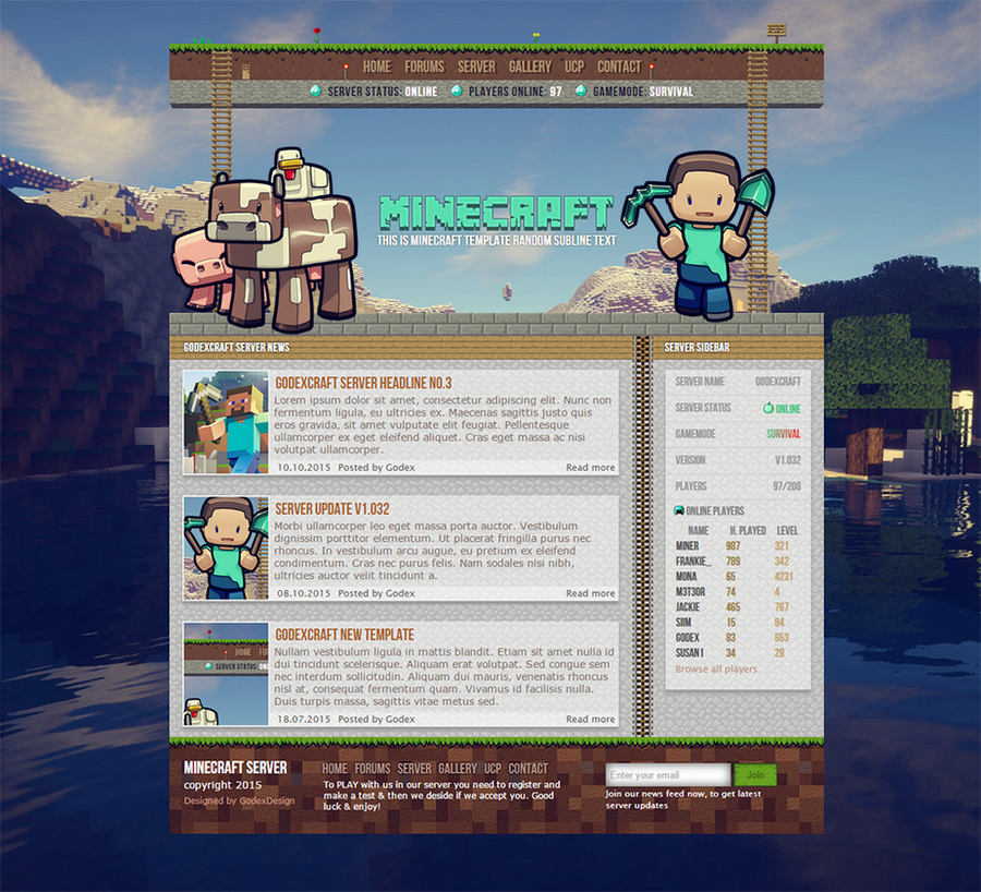 Design A Basic HTML Website Template For My Minecraft