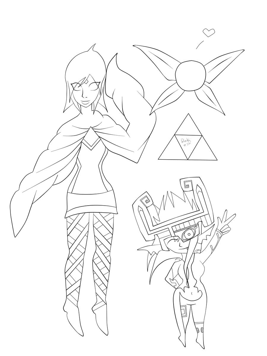 Fi navi and midna loz lineart by pandas and kookies on for Midna coloring pages