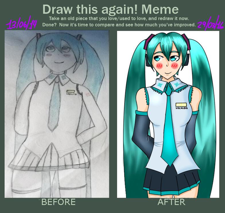 Draw this again! Meme: Hatsune miku by Damian5320