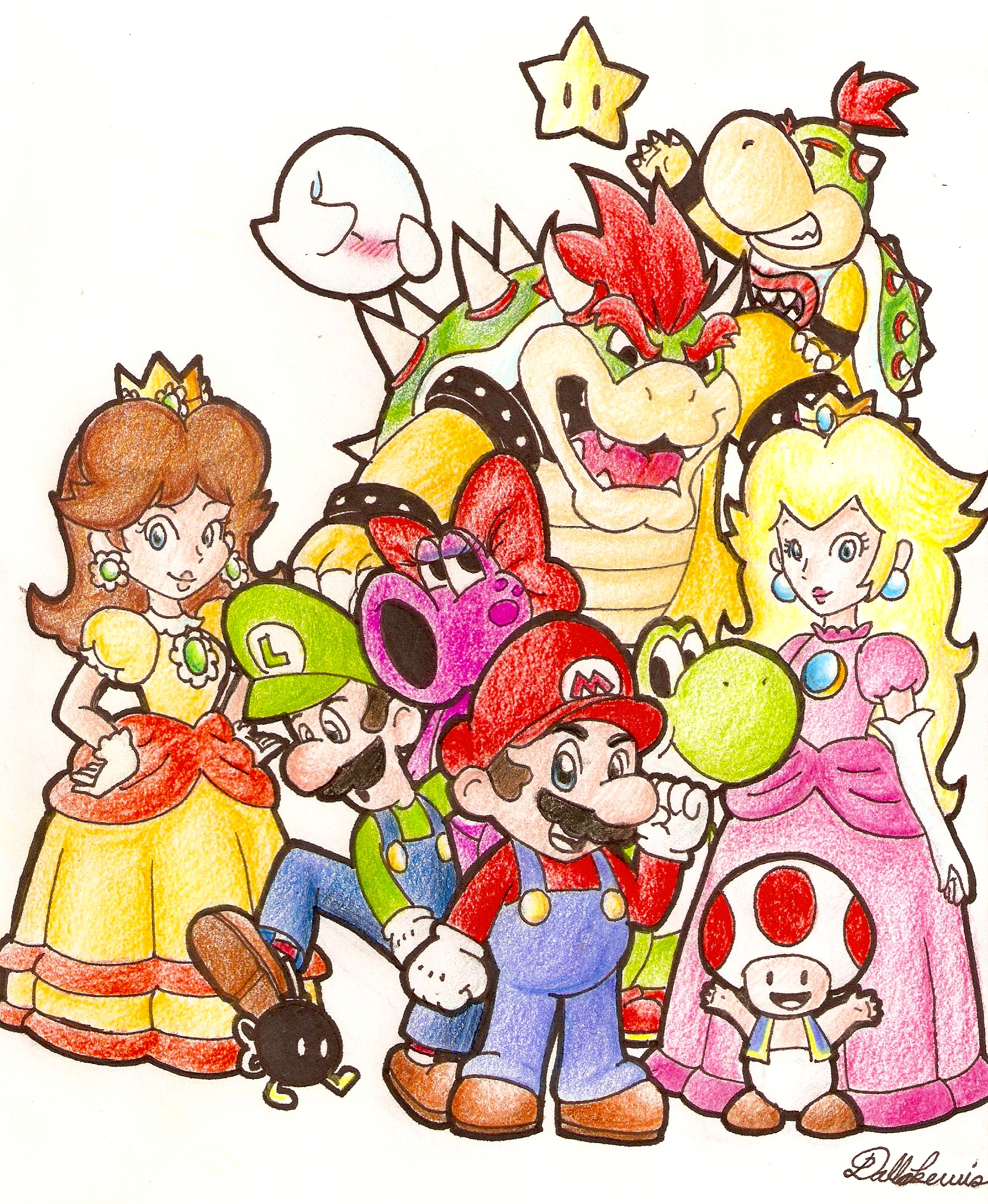 how to draw super mario 3d world characters