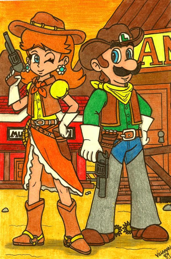 Cowboys and Mushrooms: Luigi and Daisy by Villaman89