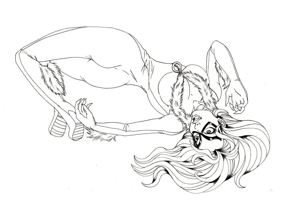 My Little Black Cat Lineart By HuntingDaphne