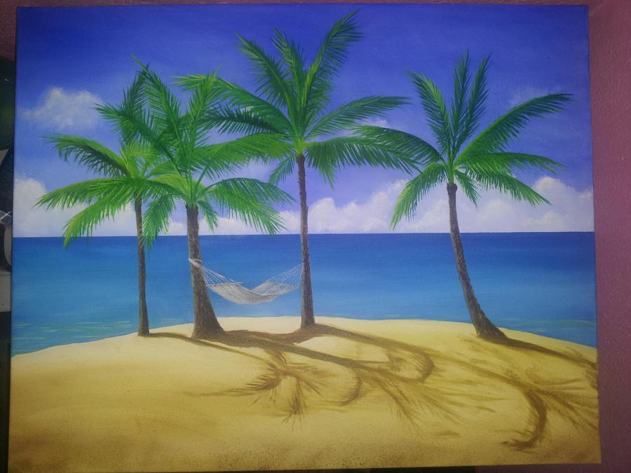 Palm Tree Beach Scene By Nikki Gaza