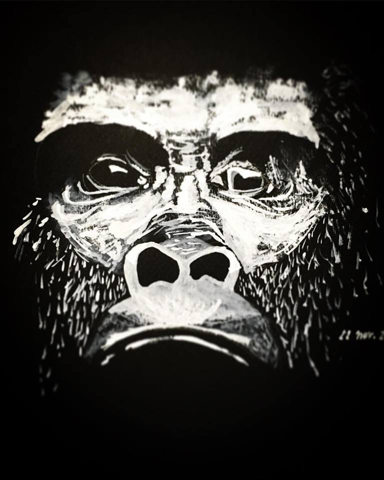 Gorilla (Painting - gouache) by Chrysalide36