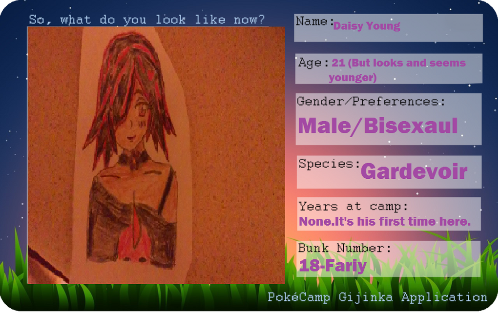 Pokecamp Gijinka Application :Daisy Young by GirlyKnight
