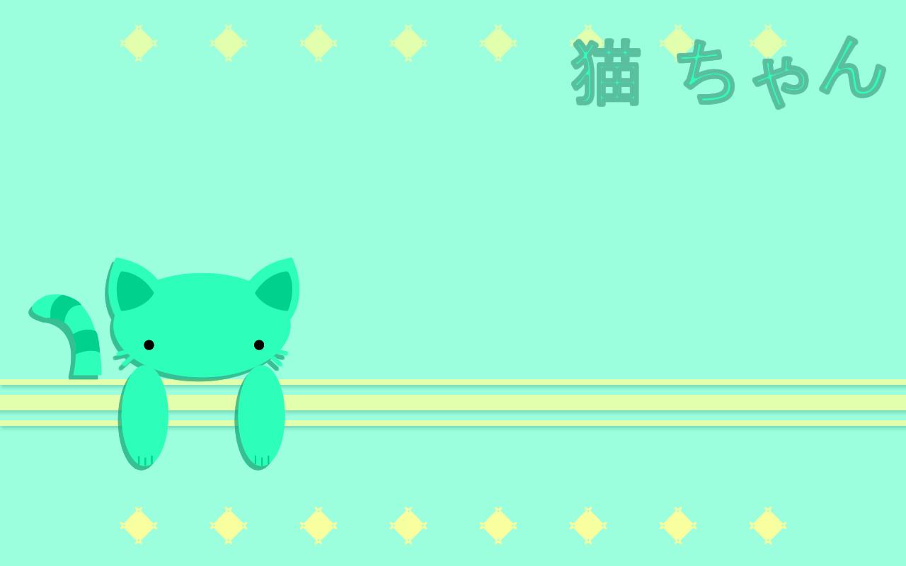 Green Neko Chan Wallpaper by sayuri-hime-7