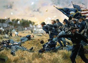 1st Minnesota at Gettysburg, day 2 July 1863 by Kellkrull87