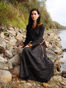 Medieval woolen dress with silk