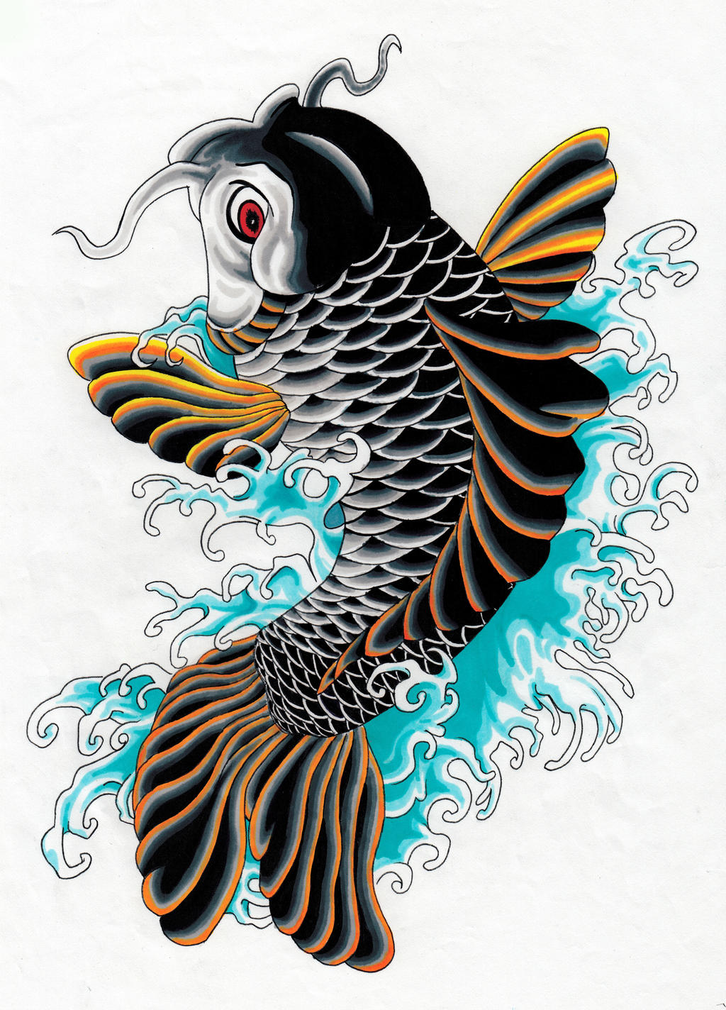 Koi carp japan tatoo style irezumi by wilfriedbento on for Koi japanese art