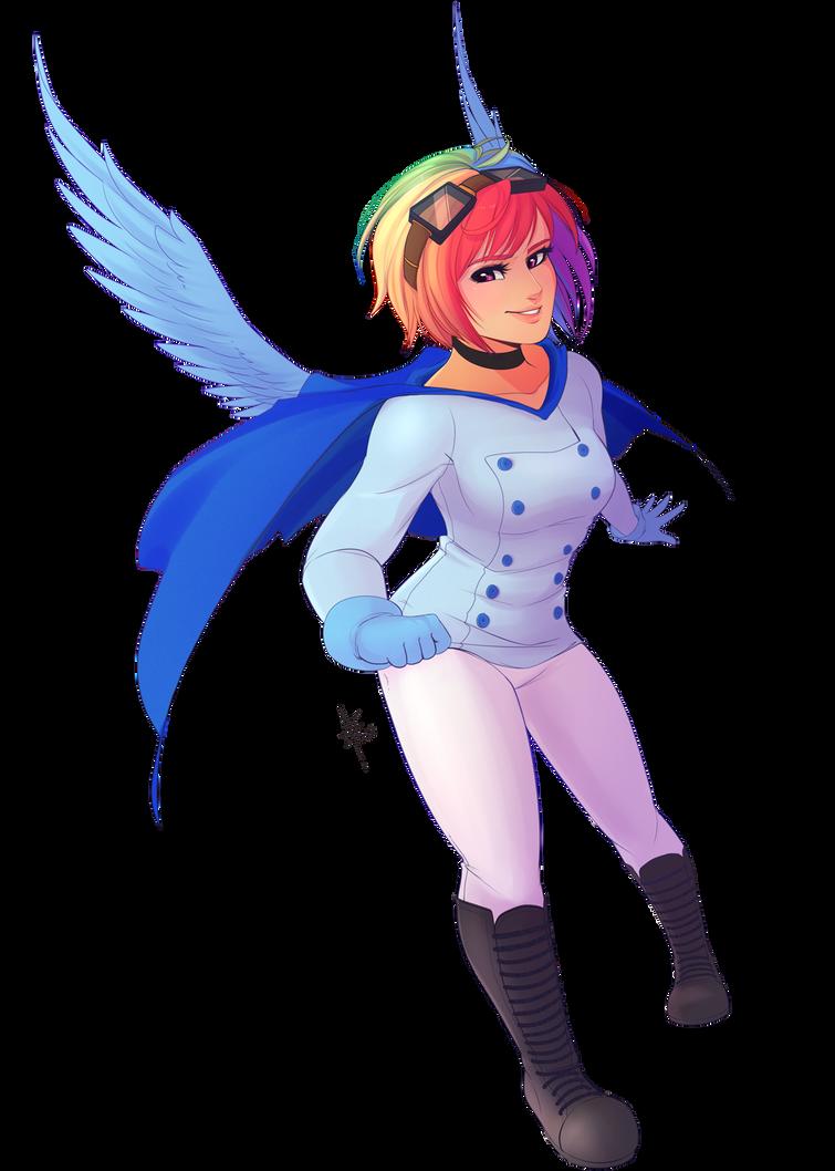 Winged Human Rainbow Dash by spittfireart