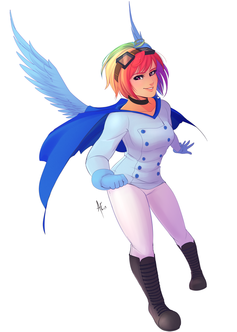Winged Human Rainbow Dash by spittfireart