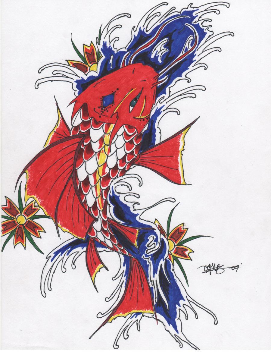 Koi fish dragon by omendoza2 on deviantart for Japanese koi dragon