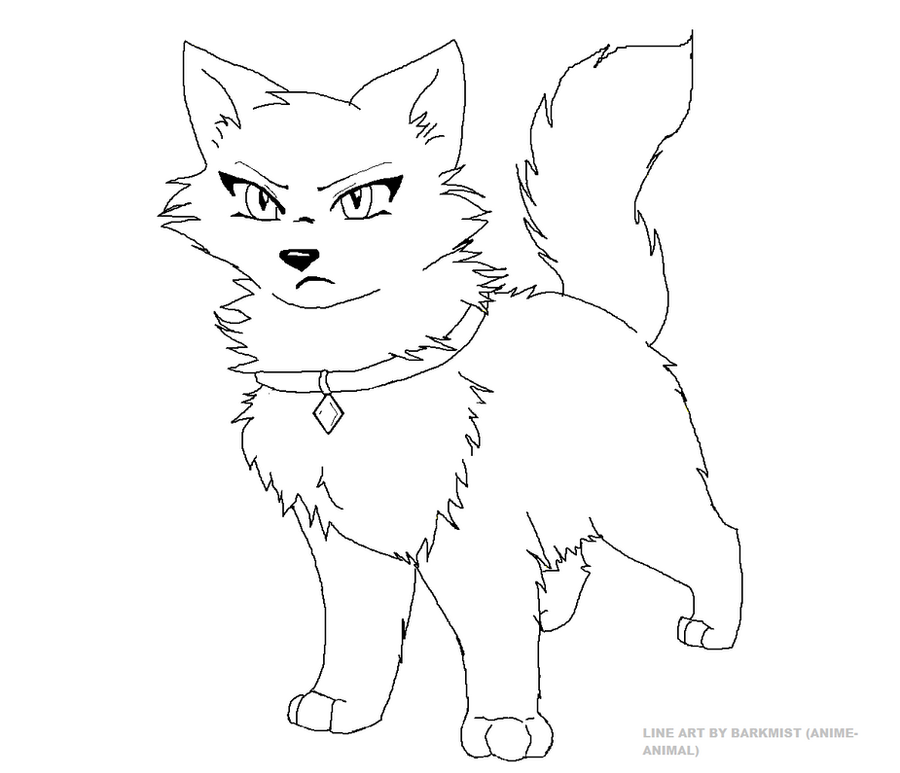 Pet cat line art by anime animal
