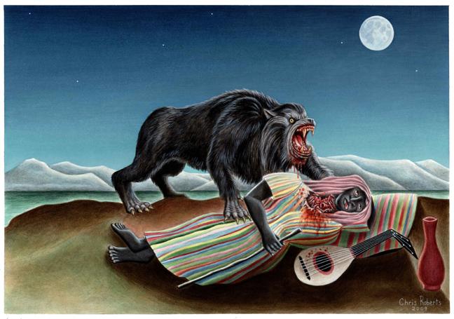 sleeping gypsy with werewolf by monsterbatory1 on deviantart