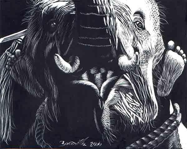 elefante montado by uracananda