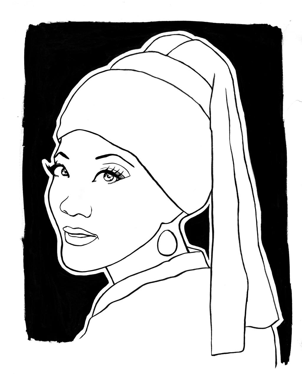 Girl With A Pearl Earring Vermeer Page Coloring Pages With The Pearl Earring Coloring Page Printable