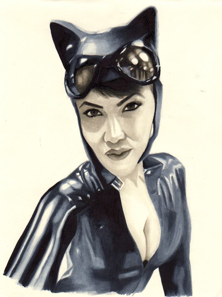 Eve Beauregard as Catwoman - Copic Sketch by BauerPower24777
