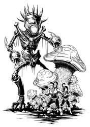 Alien Mushroom Tender - b+w by matt-walkden