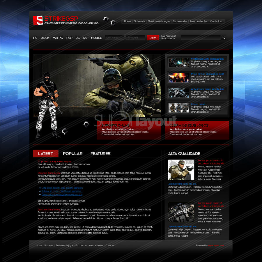 Game Website Design By Superlayout On DeviantArt - Game design websites