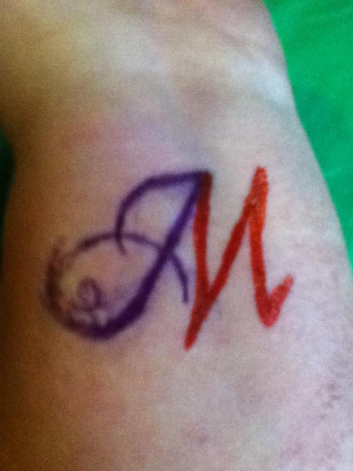 Initial tattoo initials tattoo purple and red