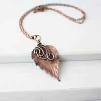 Real birch leaf necklace - Botanical jewel by WhiteSquaw