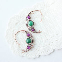 Purple and green earrings by WhiteSquaw