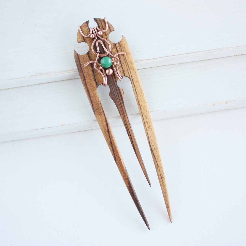 Wood hair pin by WhiteSquaw