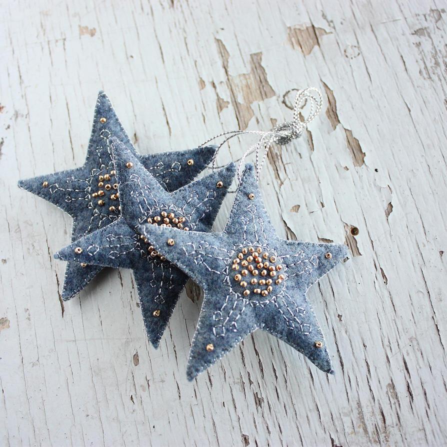 Felt stars ornament by WhiteSquaw